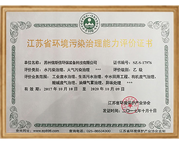 江苏省环境污染治理能力评价乙级